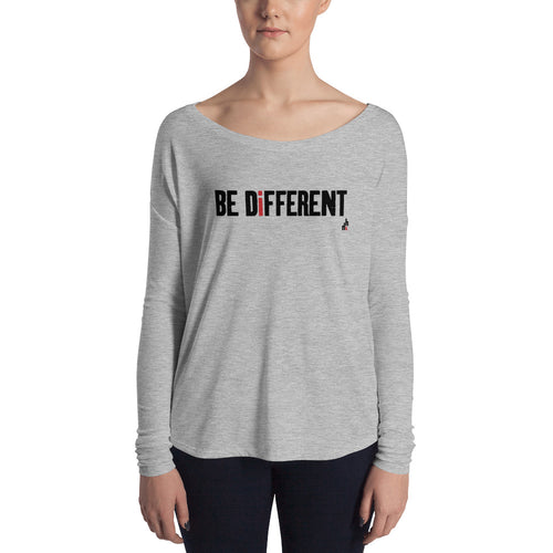 Be Different Women's Long Sleeve Tee (Black Print)