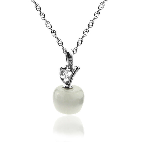 Silver Apple Necklace