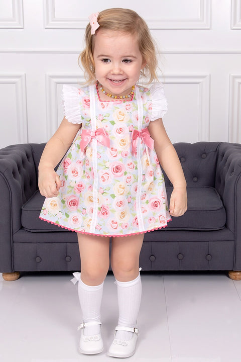 Floral Pink Bow Dress With Bloomers