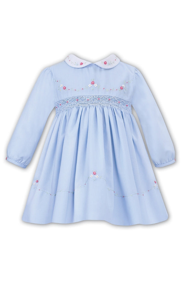 Blue Smocked Floral Dress