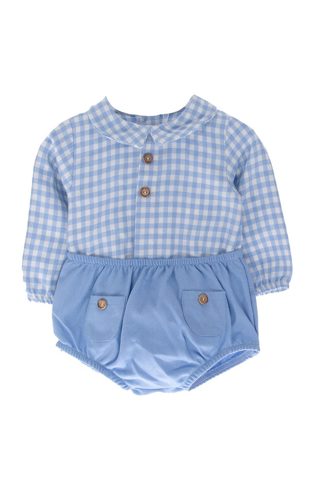 Blue And White Checked Top And Shorts