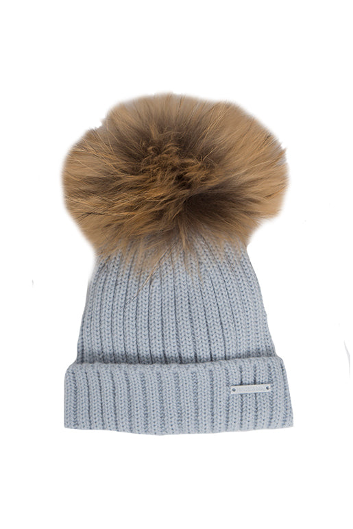 Blue Turn Back Pom Pom Hat