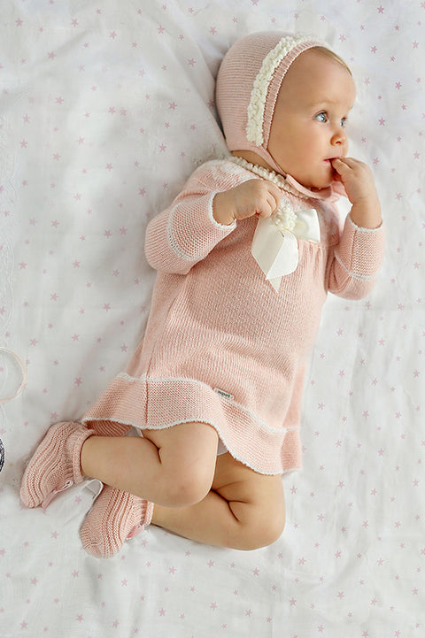 Pink Knitted Bow Pom Pom Dress