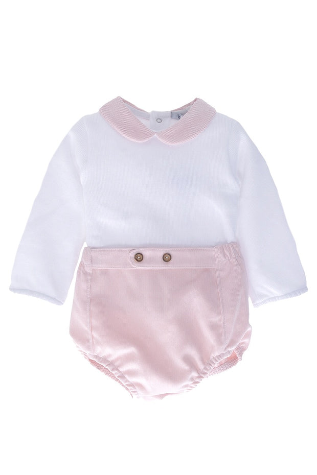 Pink And White Corduroy Top And Shorts