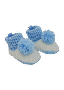 Blue Crochet Pom Pom Booties