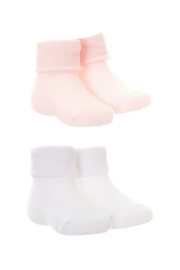 2pk White And Pink Socks