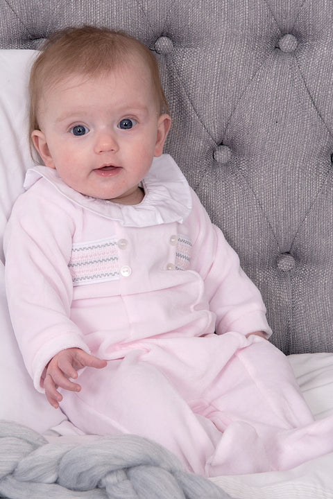 Pink Velour Smocked All In One