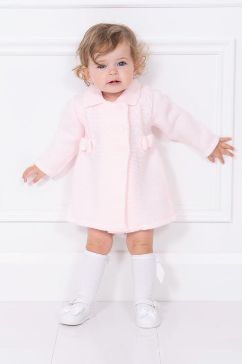 Pink Knitted Bow Coat
