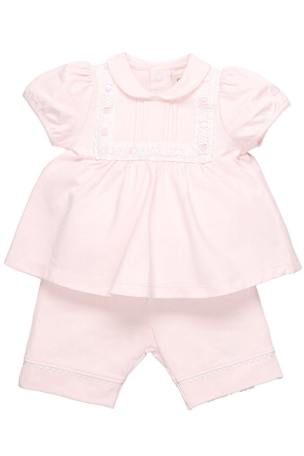 Emile Et Rose Pink Ribbon Laced Trim Top And Shorts