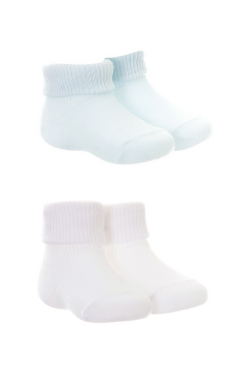 2pk White And Blue Socks