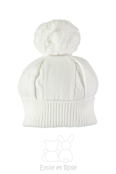 Emile Et Rose White Knitted Bobble Hat