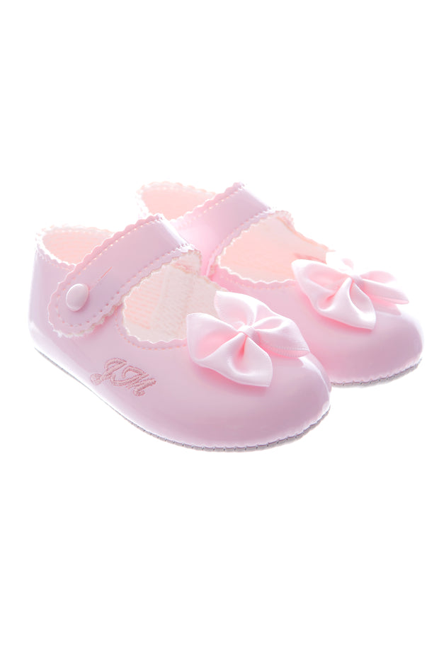Pink Soft Sole Bow Shoes