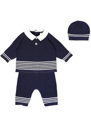 Emile Et Rose Navy Knit Outfit With Hat