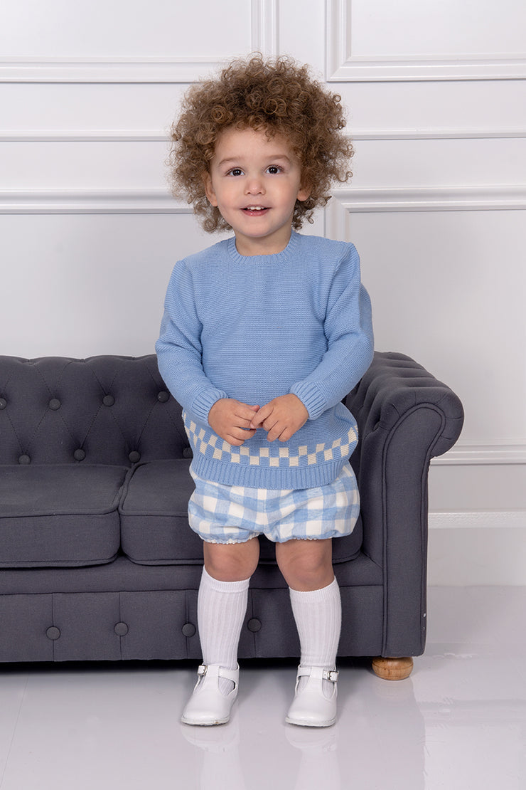 Granlei Blue Knitted Checked Top And Shorts