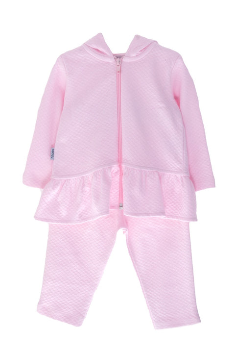 Pink Waffle Hooded Two Piece