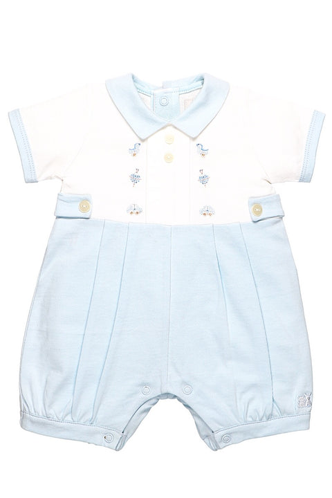 White And Blue Embroided Romper