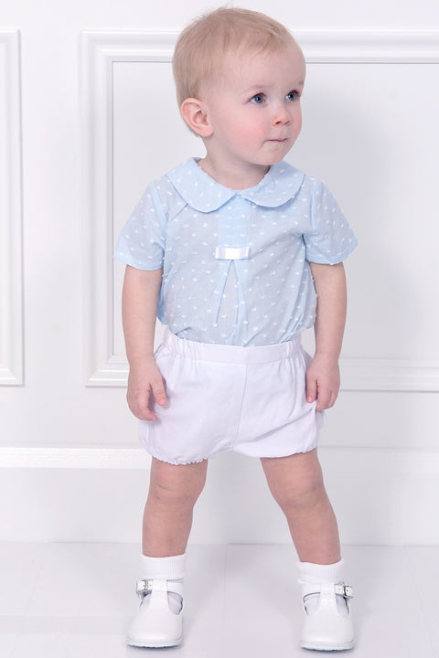 Spanish Blue Embossed Bow Top With Waffle Shorts