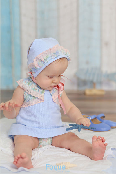 Foque Blue Floral Lace Dress And Bloomers