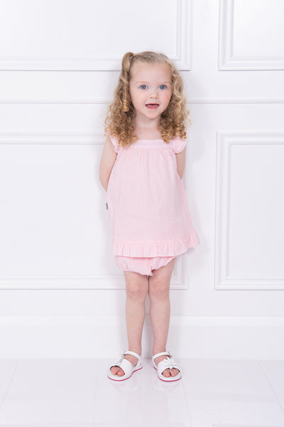 Babidu Pink Frilled Dress And Bloomers