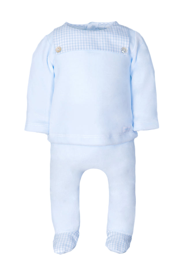 Blue Checked Bib Design Top And Pants