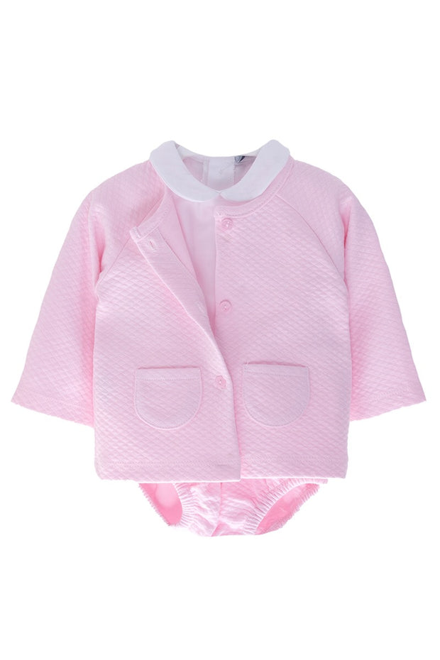 Pink Waffle Jacket and Shorts With White Top