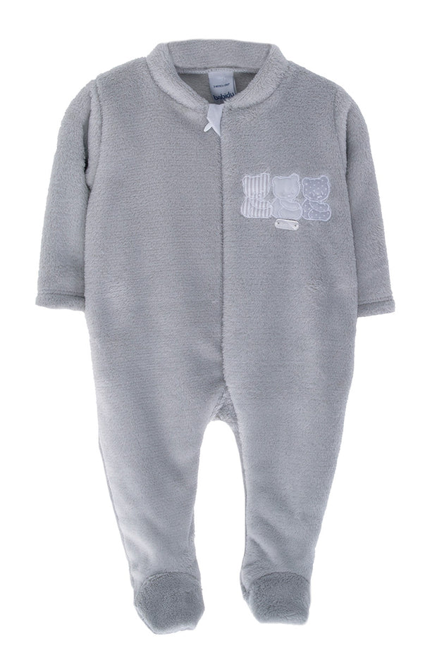 Grey Velour Bear All In One