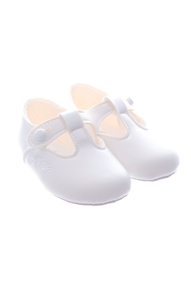 White Soft Sole T Bars Shoes