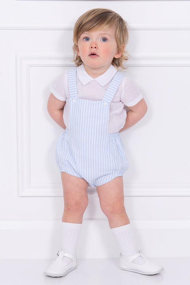 White Top With Blue Striped Dungarees