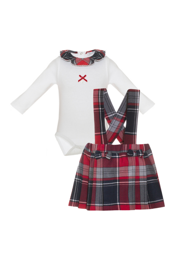 Patachou Tartan Braced Skirt With Tartan Frill Bodysuit