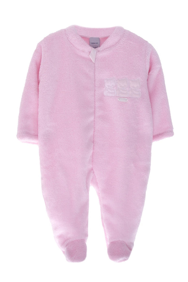 Pink Velour Bear All In One