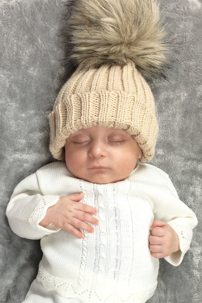 Beige Large Fur Pom Pom Hat