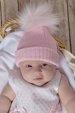 First Size Pink And Silver Ribbed Fur Pom Pom Hat