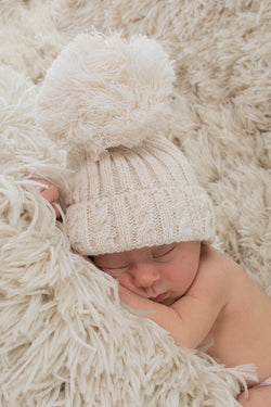 Beige Knitted Cable Pom Pom Hat