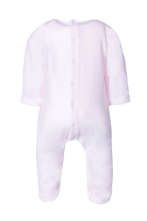 Pink Velour With White Bib All In One