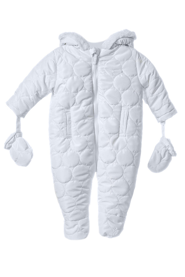 White Circular Stitch Pramsuit