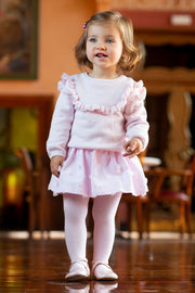 Pink Knitted Jumper With Skirt And Tights