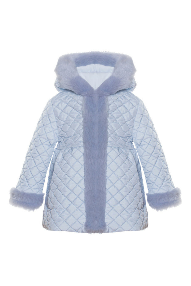 Quilted Coat With Fur Trim