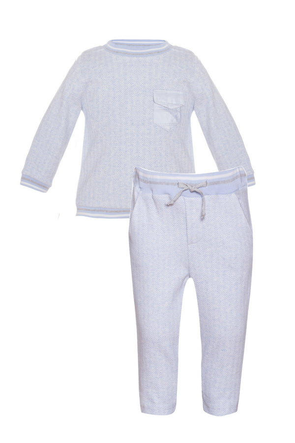 Patachou Blue Herringbone Jumper And Pants