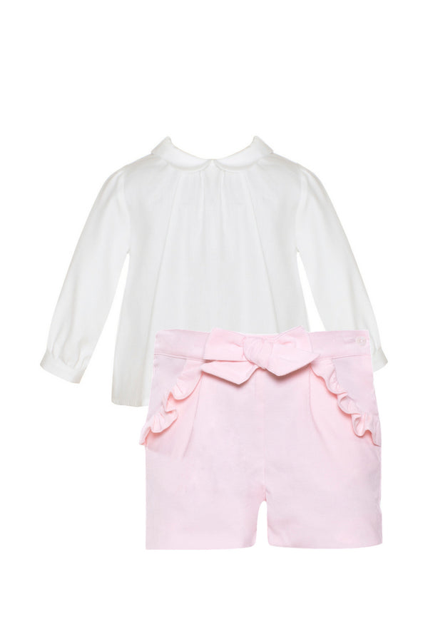 Patachou Pink Cord Bow Shorts With Blouse