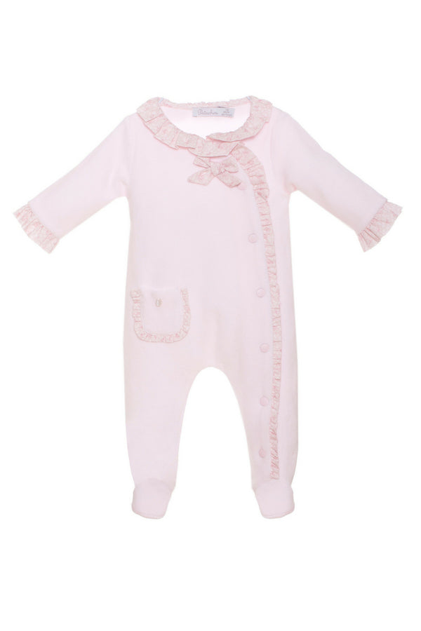 Patachou Pink Velour All In One With Floral Trims