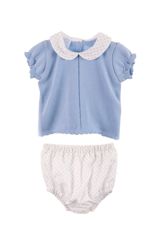 Granlei Knitted Blue And White Spotted Top And Shorts
