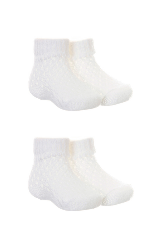 Pex 2pk White Pointelle Socks