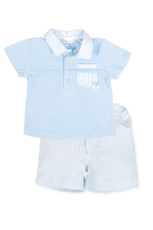 Blue Stripe Polo And Shirts