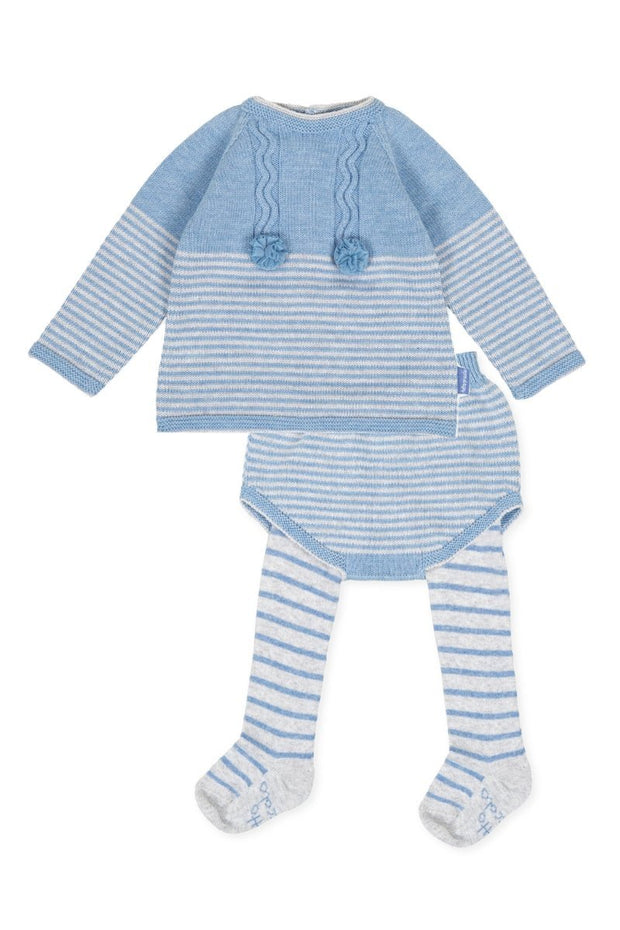 Blue And Grey Stripe Jumper - Jacob Matthews