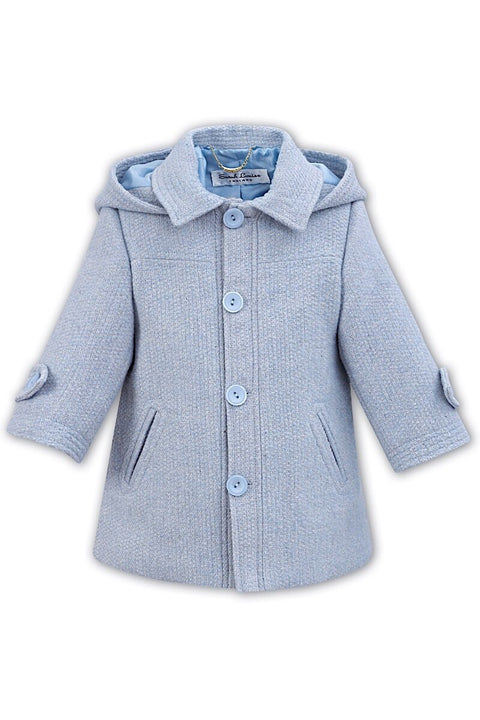 Blue And Grey Woven 3/4 Traditional Coat - Jacob Matthews