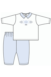 Blue And White Argyle Tracksuit - Jacob Matthews