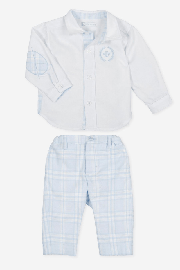 Blue And White Check Outfit - Jacob Matthews