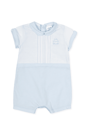 Blue And White Pleat Romper - Jacob Matthews