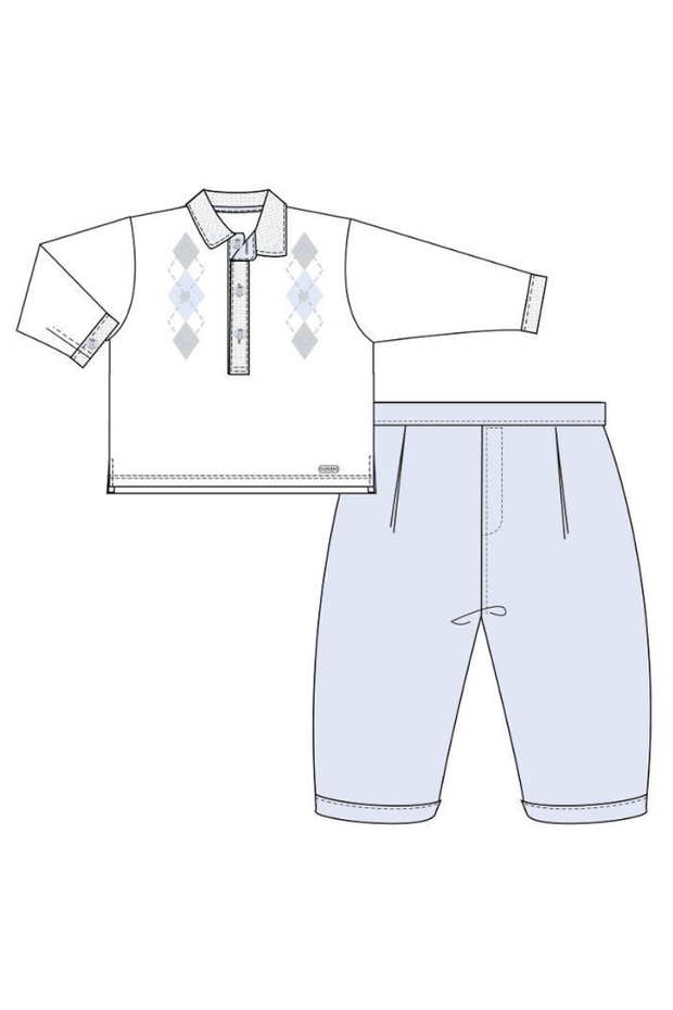 Blue Argyle Top And Trousers Outfit - Jacob Matthews