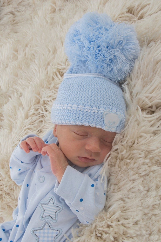 Blue Bear Hat - Large Pom Pom - Jacob Matthews